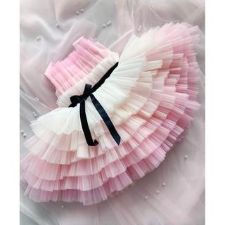 váy công chúa hồng tầng cho bé gái từ 8-40 kí