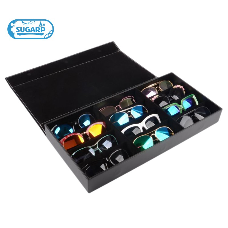 12-Slot Plaid Jewelry Sunglasses Glasses Box Eyes Wear Display Tray Watch Storage Bag PU Leather Gif