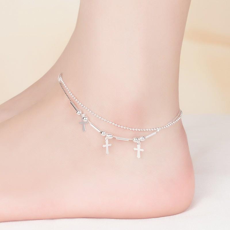 [Mã FAMS8 hoàn 8K xu đơn bất kỳ] Lắc chân dây đôi mẫu mới, bạc S925 cực xinh, giá siêu rẻ - LC38