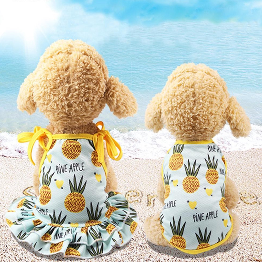 Vest Sleeveless Summer Breathable Pineapple Mesh Floral Couple Dog Cat Pet Dress