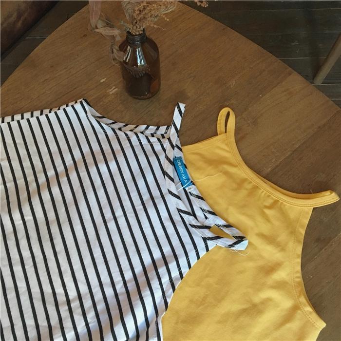 áo hai dây họa tiết sọc ngang thời trang thanh lịch dành cho nữ