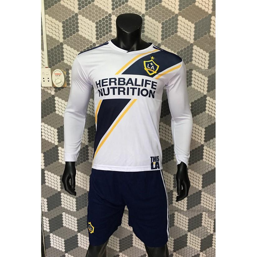 Quần áo bóng đá LA Galaxy trắng phối xanh 2018 tay dài