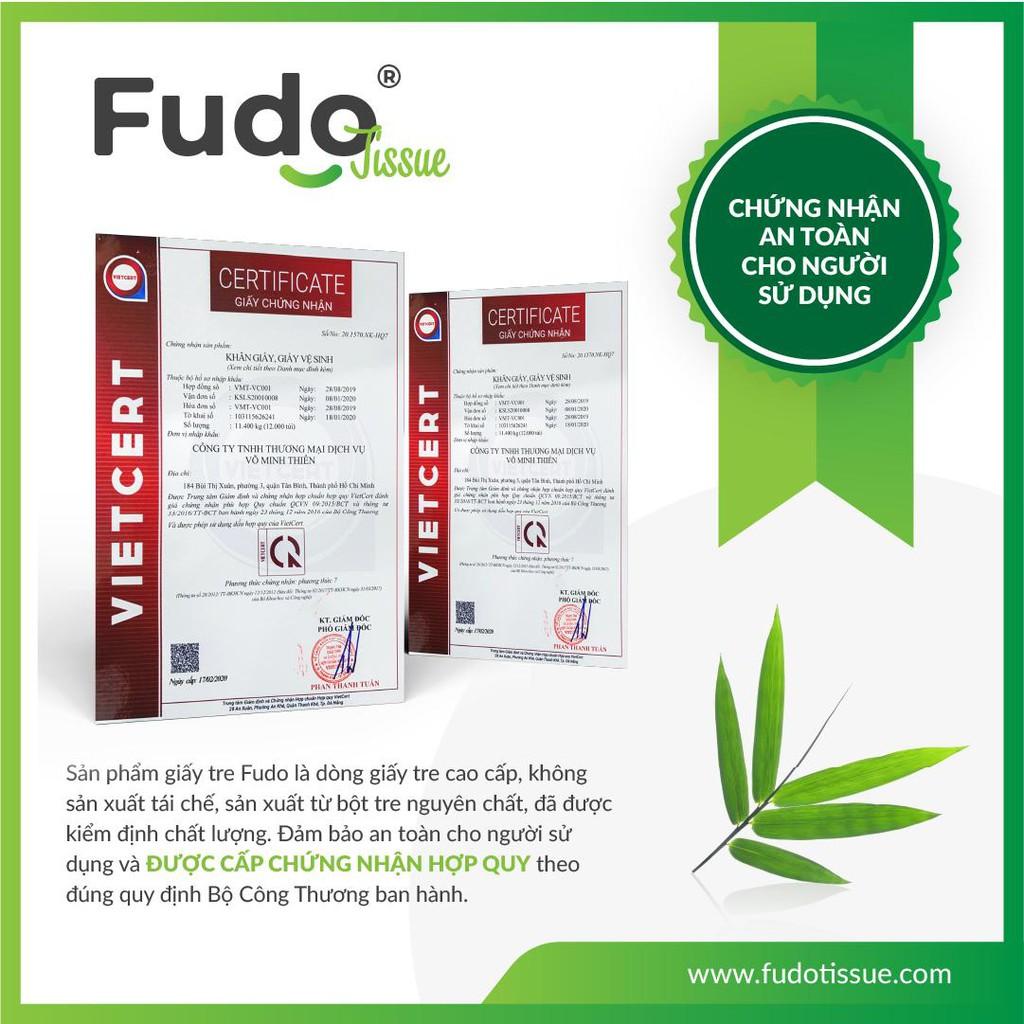 Giấy vệ sinh FUDO không lõi 100% bột tre, không tạo mùi, không tẩy trắng 10 cuộn (1 túi)