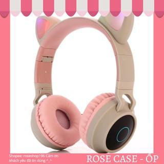 (5 màu)Tai nghe Bluetooth tai mèo phát sáng full hộp chính hãng WIRELESS BT028C, cat ear headphones âm thanh siêu hay