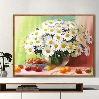 ☃✉▦tranh sơn dầu kỹ thuật số tự làm bằng tay màu phòng khách hoạt hình phong cảnh hoa trang trí bức cúc dại