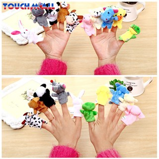 TM 6Pcs/Pack Baby Kids Family Finger Plush Toys Educational Story Cloth Puppets