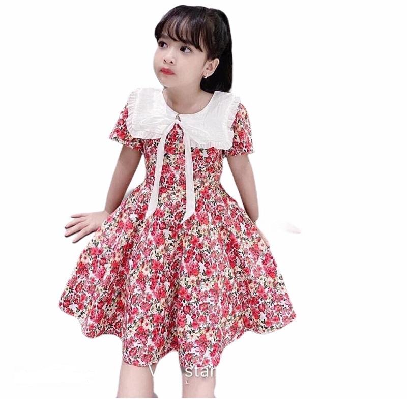 Váy đầm bé gái hoa hồng cổ sen vuông XHN288 từ 8-30kg