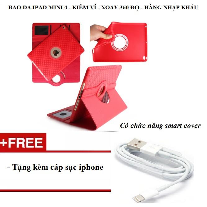 Bao da kiêm ví xoay 360 độ tắt mở màn hình cho iPad mini 4 tặng kèm cáp sạc iphone - Màu đỏ - 3183807 , 980574175 , 322_980574175 , 295000 , Bao-da-kiem-vi-xoay-360-do-tat-mo-man-hinh-cho-iPad-mini-4-tang-kem-cap-sac-iphone-Mau-do-322_980574175 , shopee.vn , Bao da kiêm ví xoay 360 độ tắt mở màn hình cho iPad mini 4 tặng kèm cáp sạc iphone - Màu đ