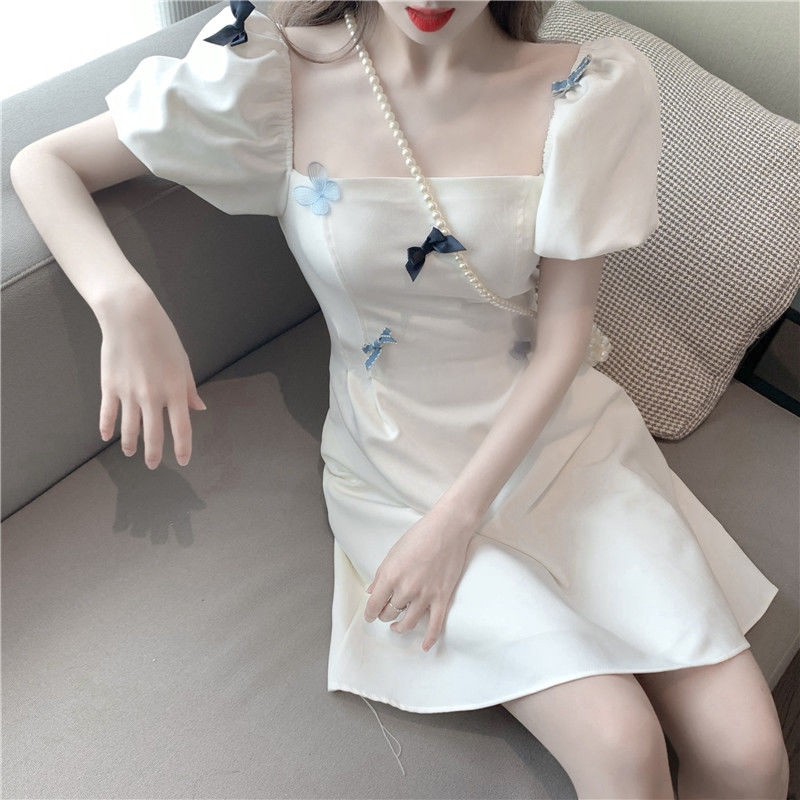French style square collar bubble sleeve first love dress new summer waistband Butterfly Fairy A-line skirt