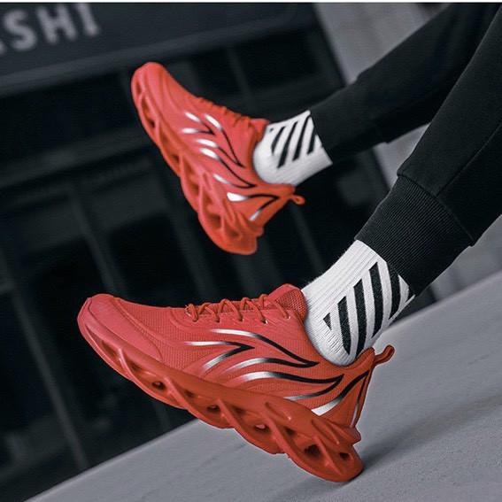 Giày nam sneaker Đế xoắn viền lá đỏ siêu đẹp
