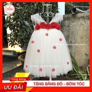 Đầm tutu cho bé ❤️FREESHIP❤️ Đầm tutu trắng hoa chifon đỏ cho bé gái