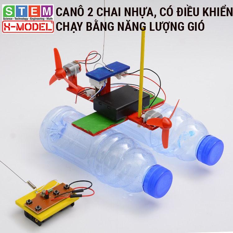 Đồ chơi sáng tạo STEM Ca nô gỗ 2 chai nhựa, có điều khiển X-MODEL ST66 cho bé, Đồ chơi trẻ em DIY [Giáo dục STEM, STEAM]