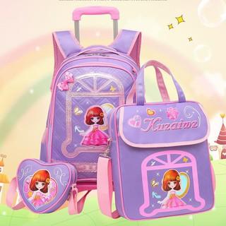 Pupils Trolley Schoolbags 1-3-5 Grade Girls 6-12 Years Old Children's Schoolbag