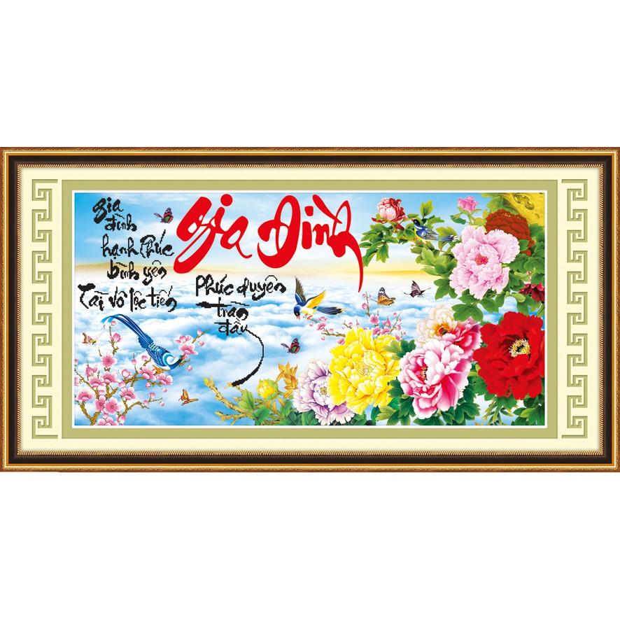 FREESHIP 99K TOÀN QUỐC_Tranh thêu chữ thập Gia đình Mẫu đơn Ailuo 3D AL53478 - Chưa thêu có
