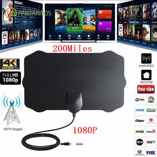 1080P 200 Mile Range Antenna TV Digital HD Skywire 4K Antena Digital Indoor HDTV