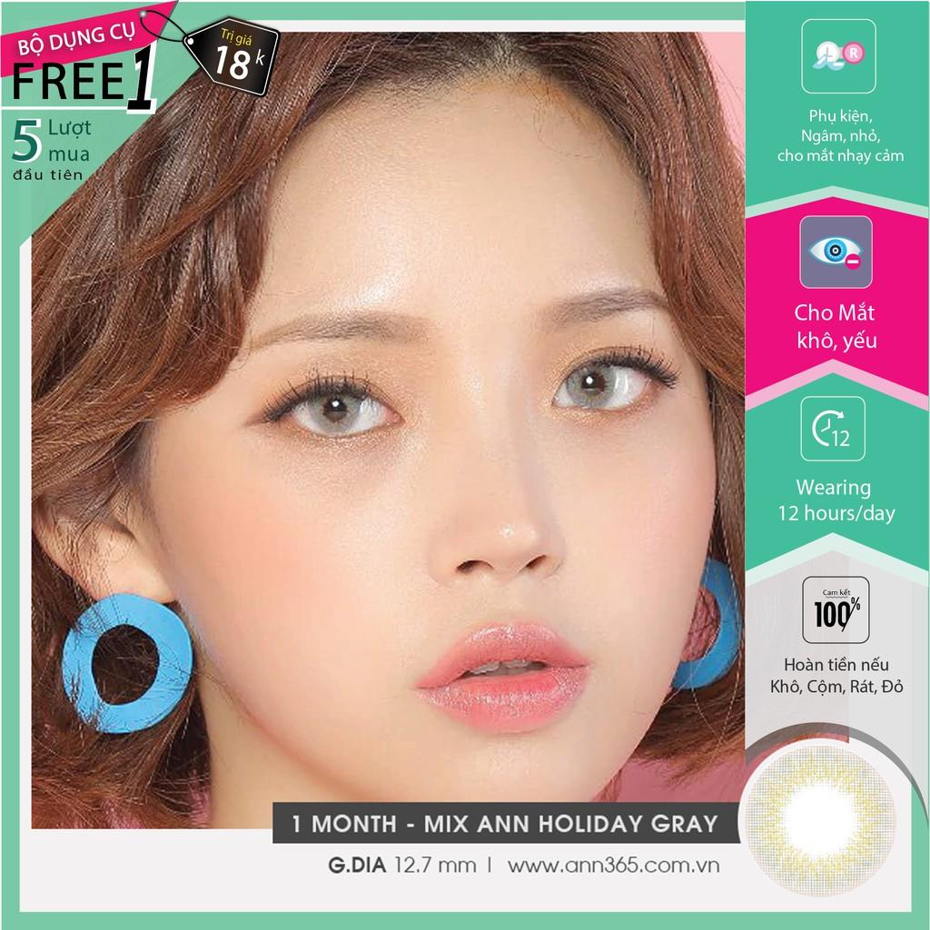 Lens cận 1 tháng màu xám sáng cho mắt khô yếu – Mix Ann Holiday Gray, kính áp tròng cho mắt nhạy cảm