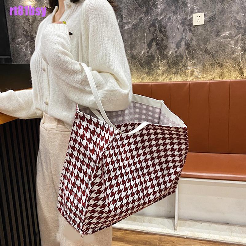 [rt81bsy]Vintage High-capacity Shoulder Bags Houndstooth Hasp Soft Handbag Shopping Bag