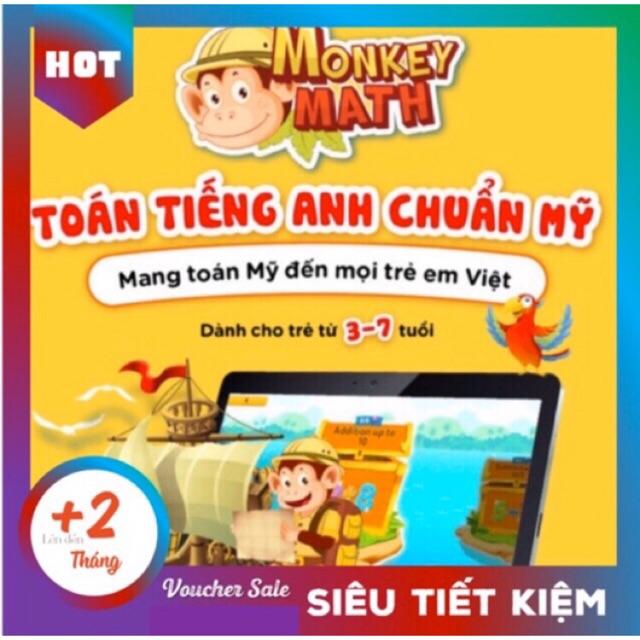 [Toàn quốc] Monkey Math - Voucher Mã học phần mềm Toán tiếng Anh - kèm Workbook
