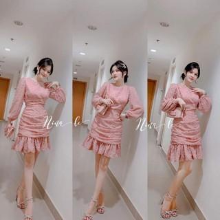 váy dự tiệc hồng nhún hông đuôi cá sang chảnh Đẹp