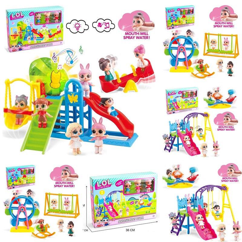 Ready Stock Surprise Doll Park house Game slide Playset Baby Girls Kids Gift Toy