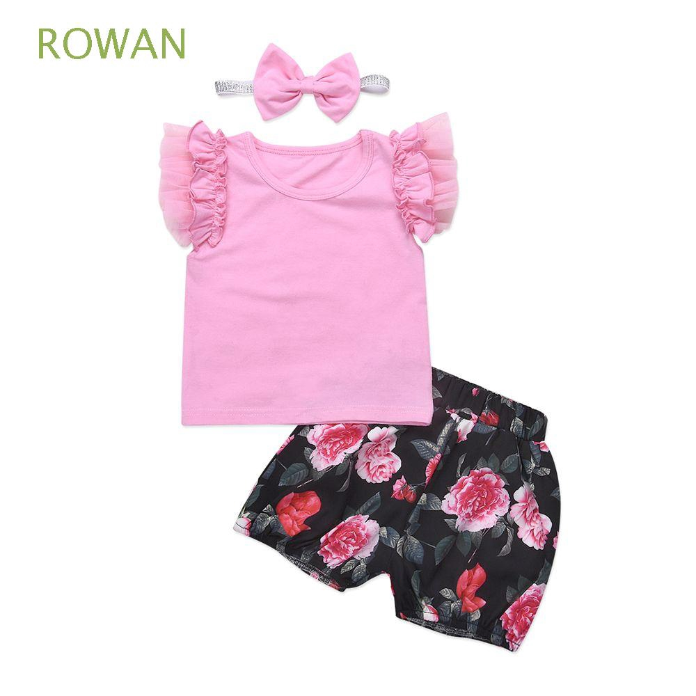 2pcs Set Fashion Newborn Kid Suits Ruffles Clothes Baby Floral Outfits