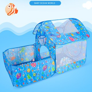 3pcs/Set Cartoon Ocean Tent Tunnel Toy Foldable Kids Outdoor Game House