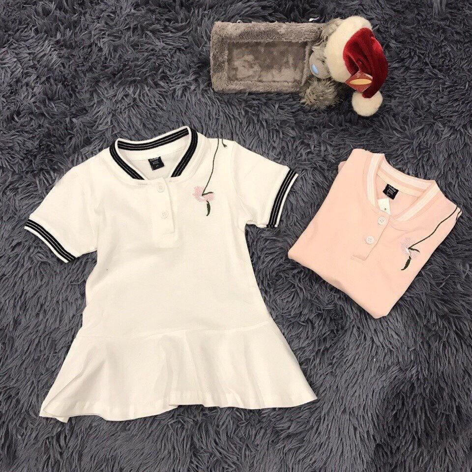 M1174 - Váy thun baby gap thêu hoa trắng/ hồng