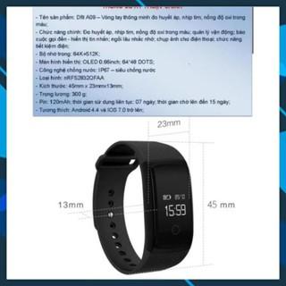 Vòng tay thông minh đo nhịp tim, huyết áp, oxi trong máu A09