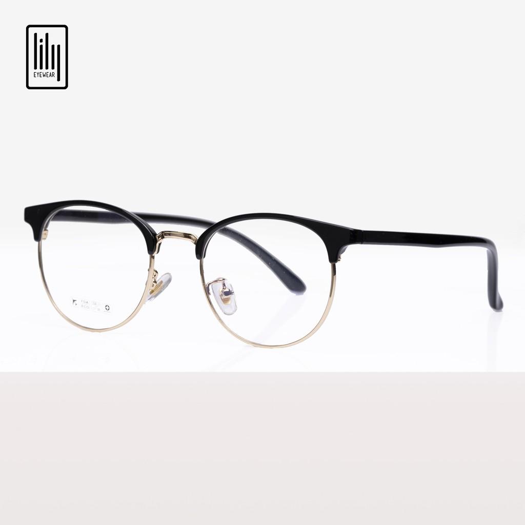 Gọng kính nữ Lilyeyewear kim loại càng nhựa, mắt tròn, nhiều màu - Y6214