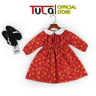 Váy Đầm Bé Gái Phối Cổ Trắng Màu Đỏ Cực Xinh Vải Thô Hàn Quốc