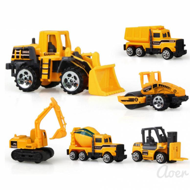 Aoer Children's toy sliding excavator alloy car model mini set engineering vehicle