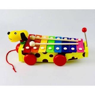 Đồ chơi xe chó đốm kéo đàn gỗ cao cấp cho bé