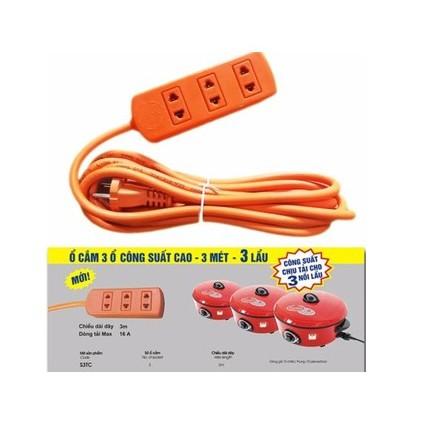 Ổ Cắm Điện 3 Lổ Cấm 16A 3m LIOA, Công Suất Cho 3 Nồi Lẩu
