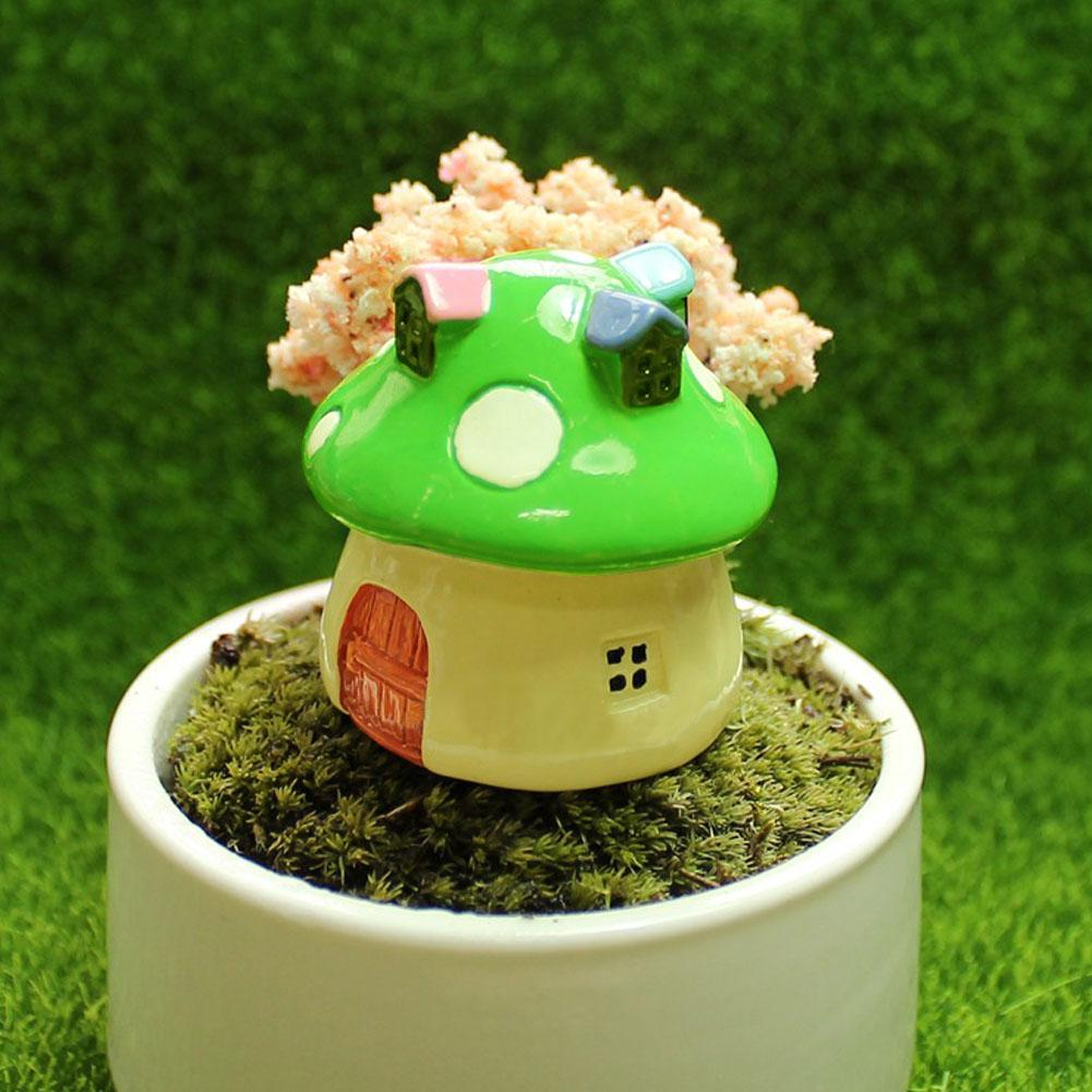 Mushroom house resin figurine craft plant pot fairy garden decor ornament