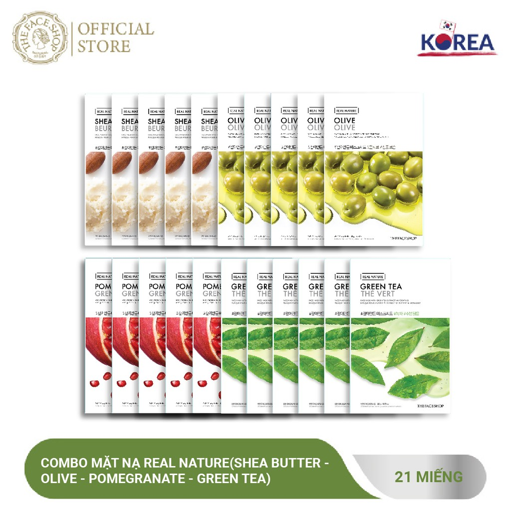 COSMALL-12%ĐH250K-Combo Mặt Nạ Real Nature TheFaceShop (Shea Butter - Olive - Pomegranate - Green Tea) 20G X 21Pcs