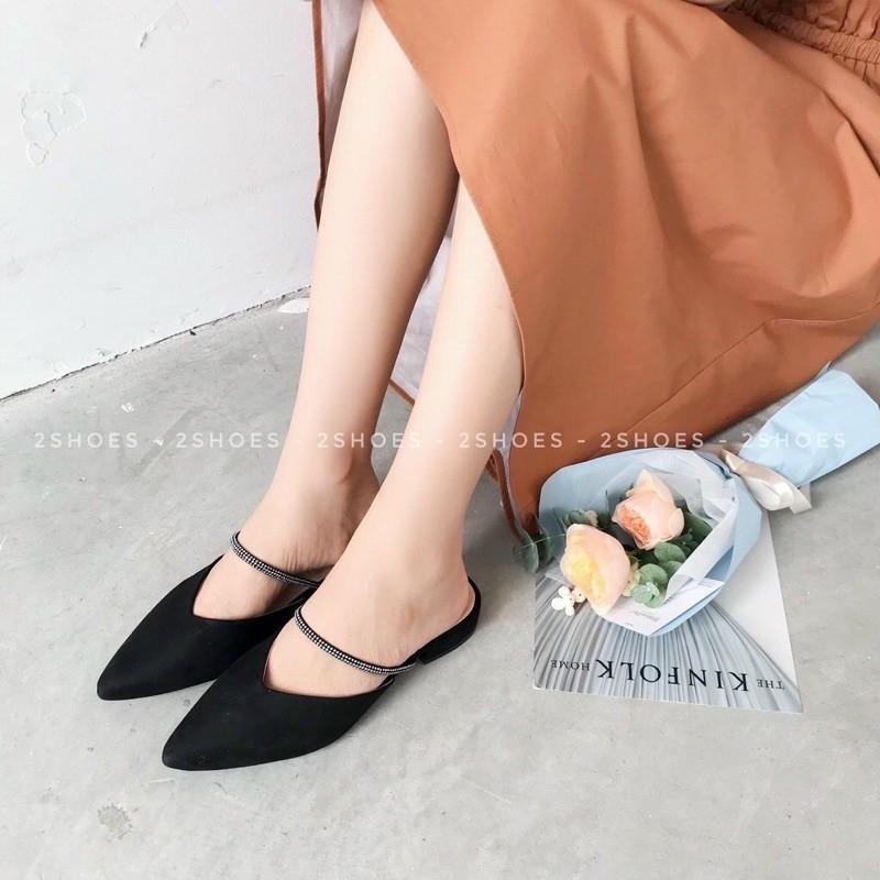 (ảnh+video) giày sục nữ phối đá quai trên sành điệu