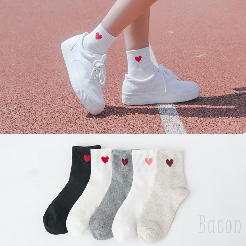 สาวน่ารักหัวใจรูปแบบอ่อนนุ่ม Breathable ข้อเท้าถุงเท้าฝ้ายสูงสบาย 844 ๆ