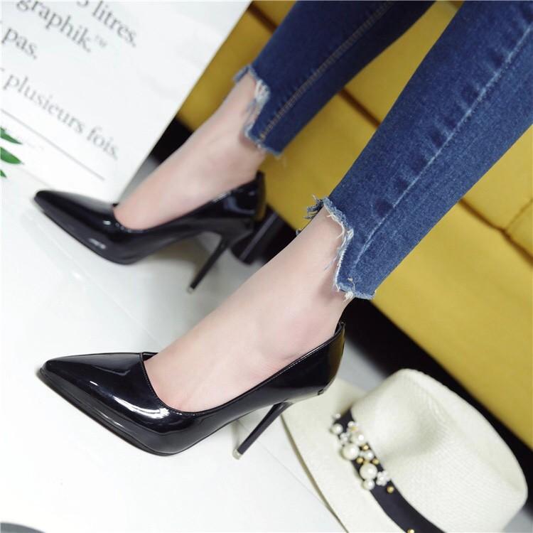 Giày cao gót da bóng mềm gót cao 9cm