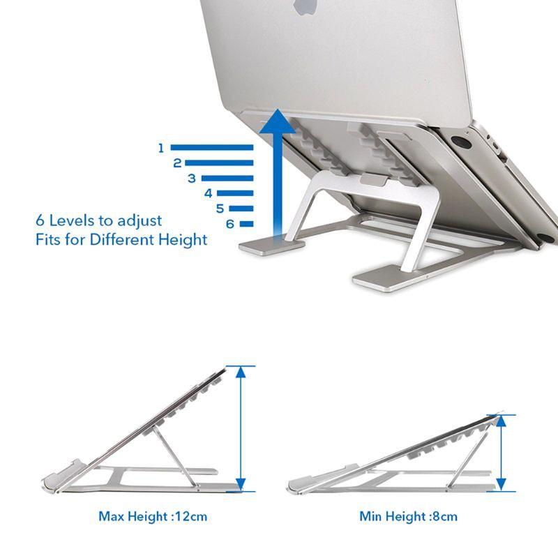 Giá Đỡ Laptop Bằng Hợp Kim Nhôm Chống Trượt 6 Góc Tùy Chỉnh Tiện Dụng