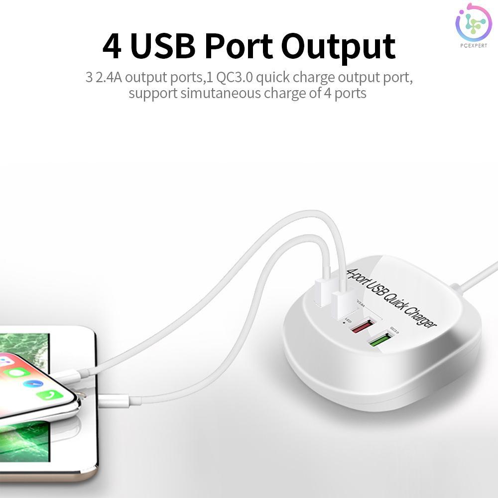 Củ Sạc Nhanh Wlx-T3 + 4 Cổng Usb Qc3.0 Cho Máy Tính Bảng / Điện Thoại / Laptop