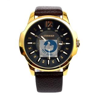 [Mã FAMAYFA2 giảm 10K đơn 50K] Đồng hồ nam CURREN có lịch dây da sần đồng hồ nam