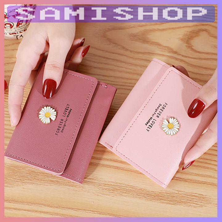 Ví nữ mini ngắn cầm tay hoa cúc cao cấp ngắn cute nhỏ gọn bỏ túi thời trang giá rẻ NG2