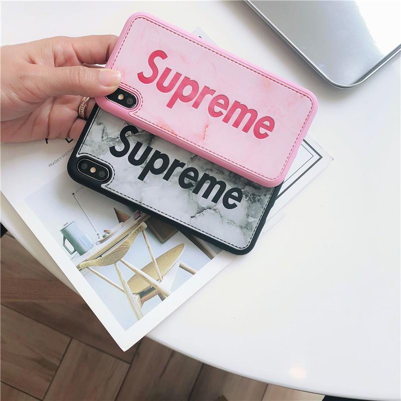 Ốp Supreme Giả Da Vân Đá Cho iPhone