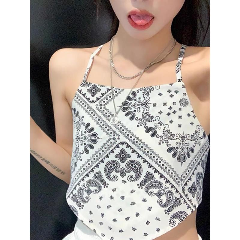 áo yếm lụa hoạ tiết thổ cẩm dây chéo buộc nơ lưng sexy - (không kèm lót - không mút ngực) (70067#)