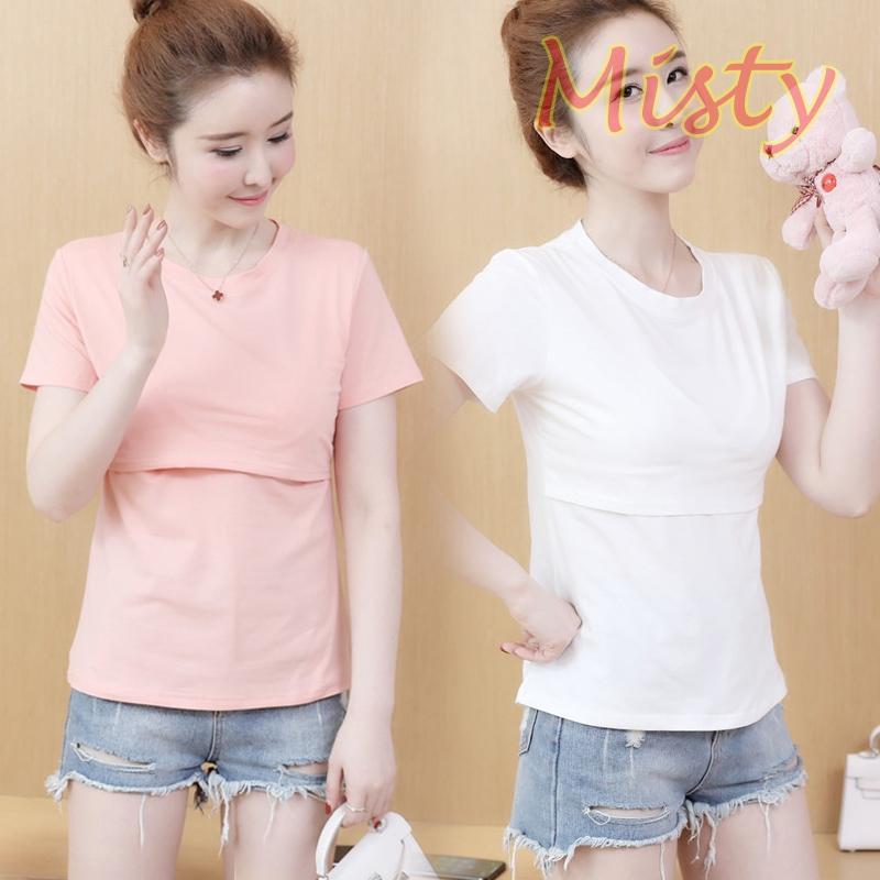 Áo Thun Cotton Tay Ngắn Màu Trơn Plus Size M-2xl Thời Trang Mùa Hè Cho Mẹ Bầu