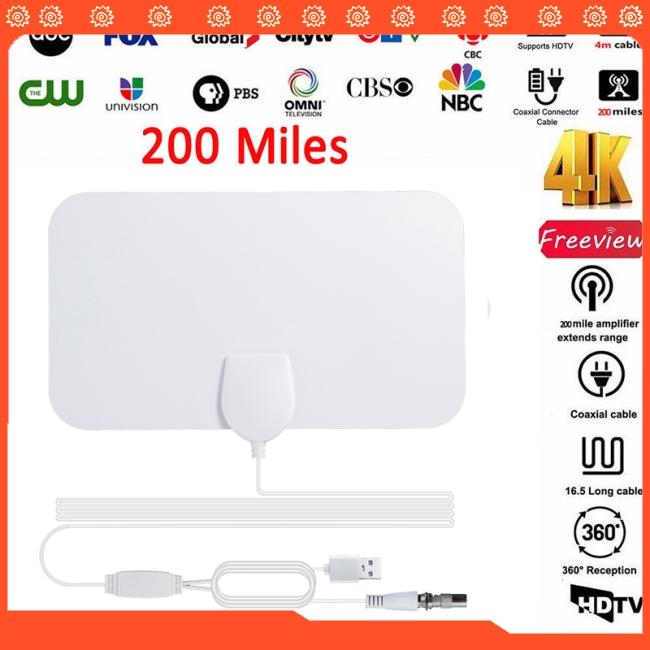 200 Mile Range Antenna TV Digital HD Skywire 4K Antena Digital Indoor HDTV 1080P with Signal
