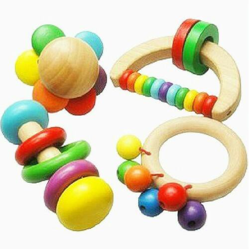 1 pc Baby Wooden Rattle Toy Handbell Musical Education Percussion Instrument