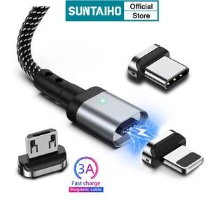 Sạc nhanh 2M 1.2M 3A Dây cáp sạc từ tính 3 trong 1 SUNTAIHO cổng USB/Type C/iPhone Micro