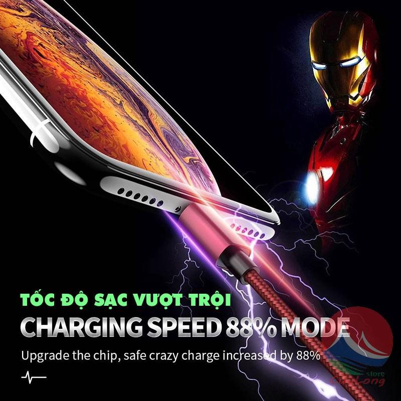 Cáp Sạc Tự Ngắt 3 Đầu Đa Năng, Chống Chai Pin, Hẹn Giờ Thông Minh, cáp tự ngắt 3 Đầu Sạc Lightning Type C Micro USB