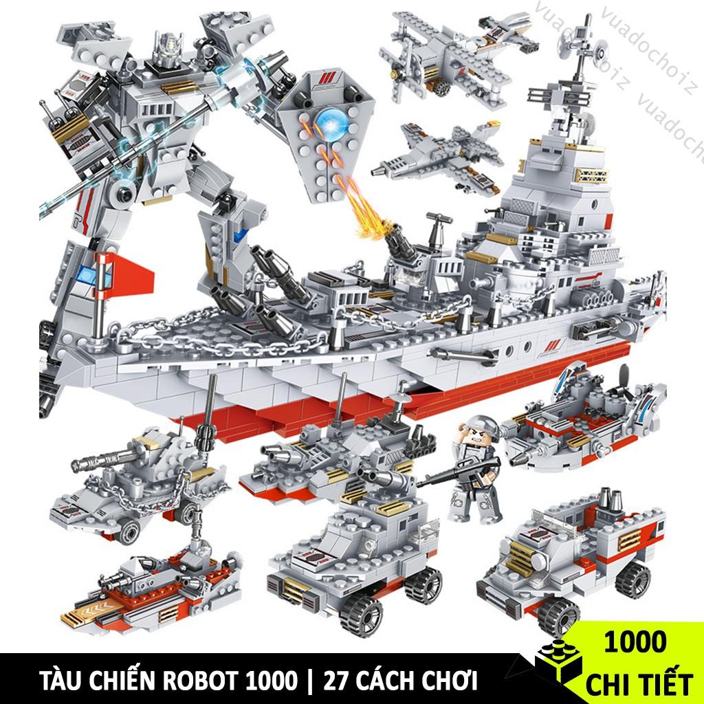 [1000 CHI TIẾT] ĐỒ CHƠI LEGO TÀU CHIẾN HẠM TUẦN DƯƠNG GỒM LEGO ROBOT, LEGO CẢNH SÁT HẢI QUÂN